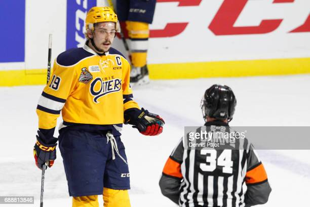 Forward Dylan Strome of the Erie Otters chats with the referee after a dissallowed goal against the Saint John Sea Dogs on May 26 2017 during the...