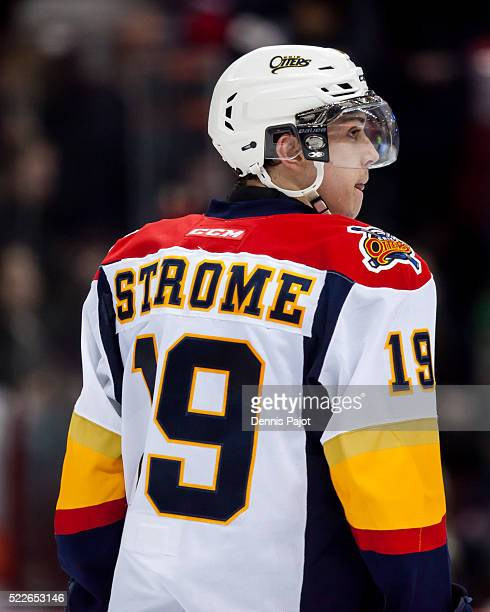 Forward Dylan Strome of the Erie Otters skates against the Windsor Spitfires on February 6 2016 at the WFCU Centre in Windsor Ontario Canada