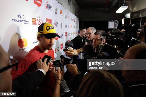 Forward Dylan Strome of the Erie Otters talks to the press after a 63 win against the Saint John Sea Dogs on May 26 2017 during the semifinal game of...