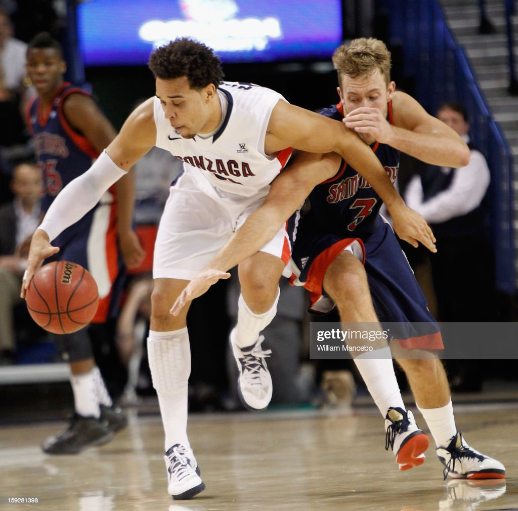 Forward <a gi-track='captionPersonalityLinkClicked' href=/galleries/search?phrase=Elias+Harris&family=editorial&specificpeople=6164446 ng-click='$event.stopPropagation()'>Elias Harris</a> #20 of the Gonzaga Bulldogs maintains control of the ball while protecting it against forward Mitchell Young #3 of the Saint Mary's Gaels during the game at McCarthey Athletic Center on January 10, 2013 in Spokane, Washington.