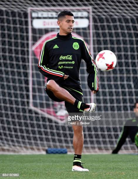 Forward Elias Hernandez of the Mexican National Team warms up during practice at UNLV ahead of the team's inaugural match of its 2017 US tour on...