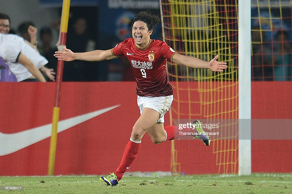 Forward Elkeson Oliveira of Guangzhou Evergrande celebrates his goal during the AFC Champions League Final 2nd leg match between Guangzhou Evergrande and FC Seoul at Guangzhou Tianhe Sport Center Stadium on November 9, 2013 in Guangzhou, China.