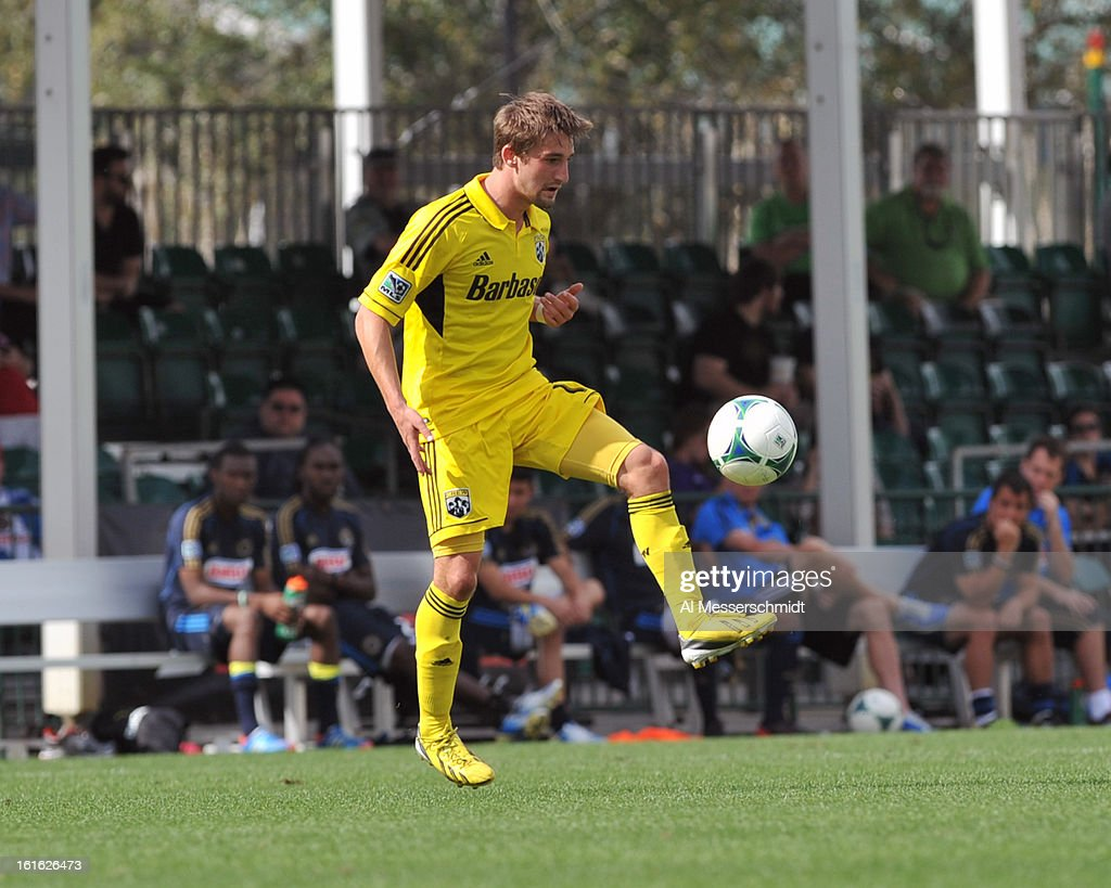 Forward Ethan Finlay #13 of the Columbus Crew directs play against the Philadelphia Union February 13, 2013 in the second round of the Disney Pro Soccer Classic in Orlando, Florida. Finlay scored twice.