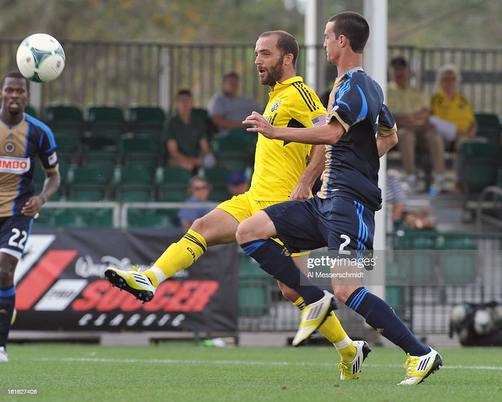 Forward Federico Higulan #33 of the Columbus Crew handles the ball against the Philadelphia Union February 13, 2013 in the second round of the Disney Pro Soccer Classic in Orlando, Florida.