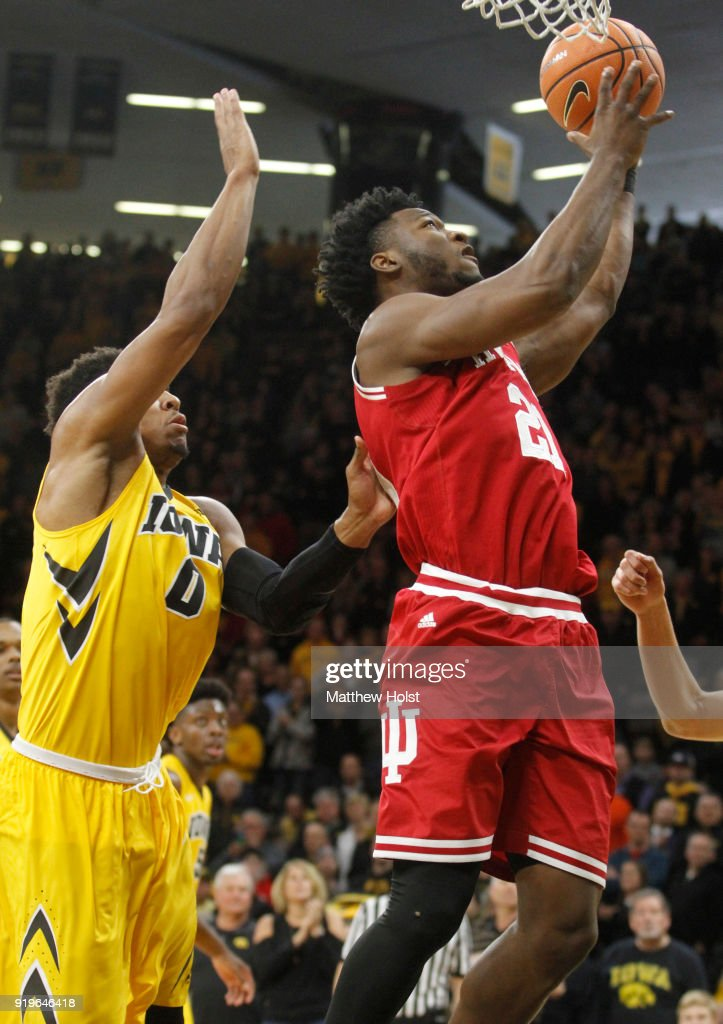 Forward Freddie McSwain #21 of the Indiana Hoosiers goes to the basket during the second half against forward Ahmad Wagner #0 of the Iowa Hawkeyes on February 17, 2018 at Carver-Hawkeye Arena, in Iowa City, Iowa.