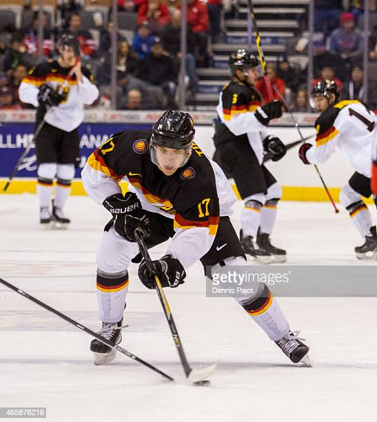 Forward Frederik Tiffels of Germany moves the puck against Switzerland during the 2015 IIHF World Junior Championship on January 02 2015 at the Air...