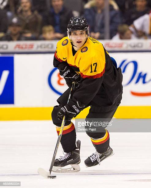 Forward Frederik Tiffels of Germany moves the puck against Switzerland during the 2015 IIHF World Junior Championship on January 03 2015 at the Air...