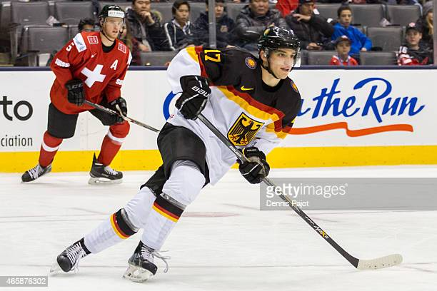 Forward Frederik Tiffels of Germany skates against Switzerland during the 2015 IIHF World Junior Championship on January 02 2015 at the Air Canada...