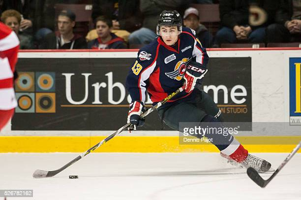 Forward Gabriel Vilardi of the Windsor Spitfires moves the puck against the Sault Ste Marie Greyhounds on February 18 2016 at the WFCU Centre in...