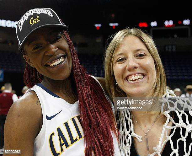 Forward Gennifer Brandon celebrates with head coach Lindsay Gottlieb of the California Golden Bears after the game against the Georgia Lady Bulldogs...