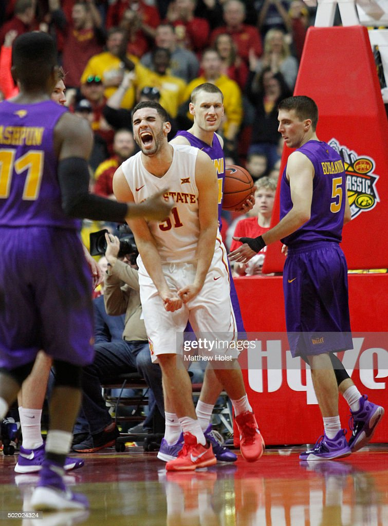 Forward <a gi-track='captionPersonalityLinkClicked' href=/galleries/search?phrase=Georges+Niang&family=editorial&specificpeople=10061173 ng-click='$event.stopPropagation()'>Georges Niang</a> #31 of the Iowa State Cyclones reacts after scoring in the second half against the Northern Iowa Panthers on December 19, 2015 during the Hy-Vee Big Four Classic at Wells Fargo Arena, in Des Moines, Iowa.