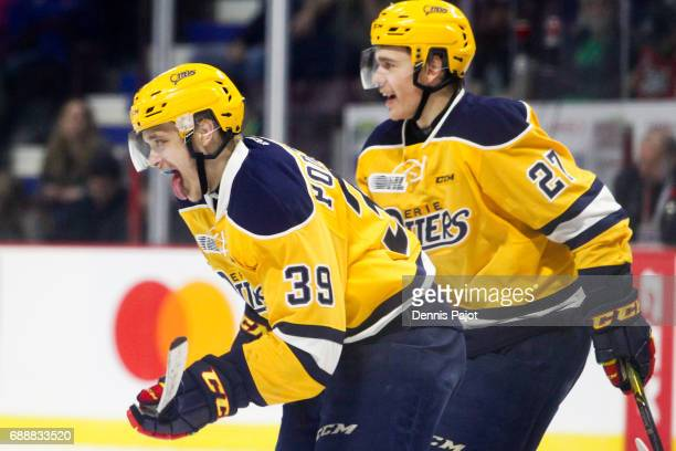 Forward Gera Poddubnyi of the Erie Otters celebrates his third period goal against the Saint John Sea Dogs on May 26 2017 during the semifinal game...