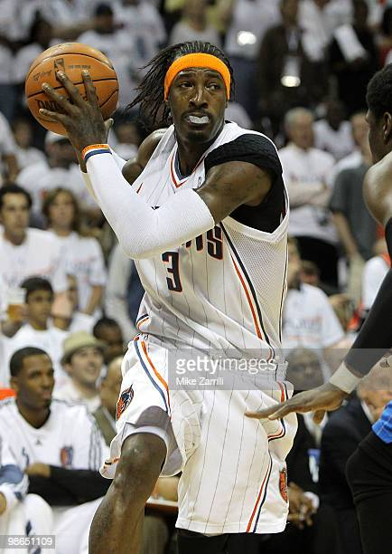 Forward Gerald Wallace of the Charlotte Bobcats looks to drive to the basket during Game Three of the Eastern Conference Quarterfinals during the...
