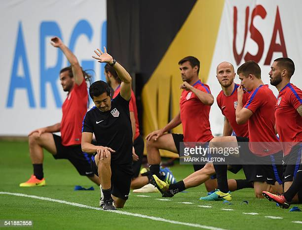 Forward Gyasi Zardes trains with other members of the US team on the eve of their COPA America 2016 semifinal soccer match against Argentina at the...