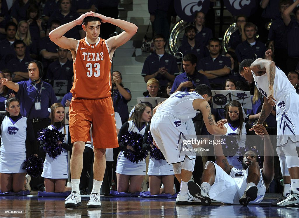 Forward Ioannis Papapetrou #33 of the Texas Longhorns reacts after fouling forward Thomas Gipson #42 of the Kansas State Wildcats during the second half on January 30, 2013 at Bramlage Coliseum in Manhattan, Kansas. Kansas State defeated Texas 83-57.