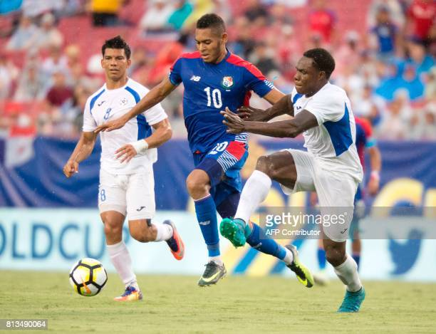 Forward Ismael Diaz of Panama evades defender Luis Copete of Nicaragua during the first half of their Group B Gold Cup soccer game on July 12 2017 at...