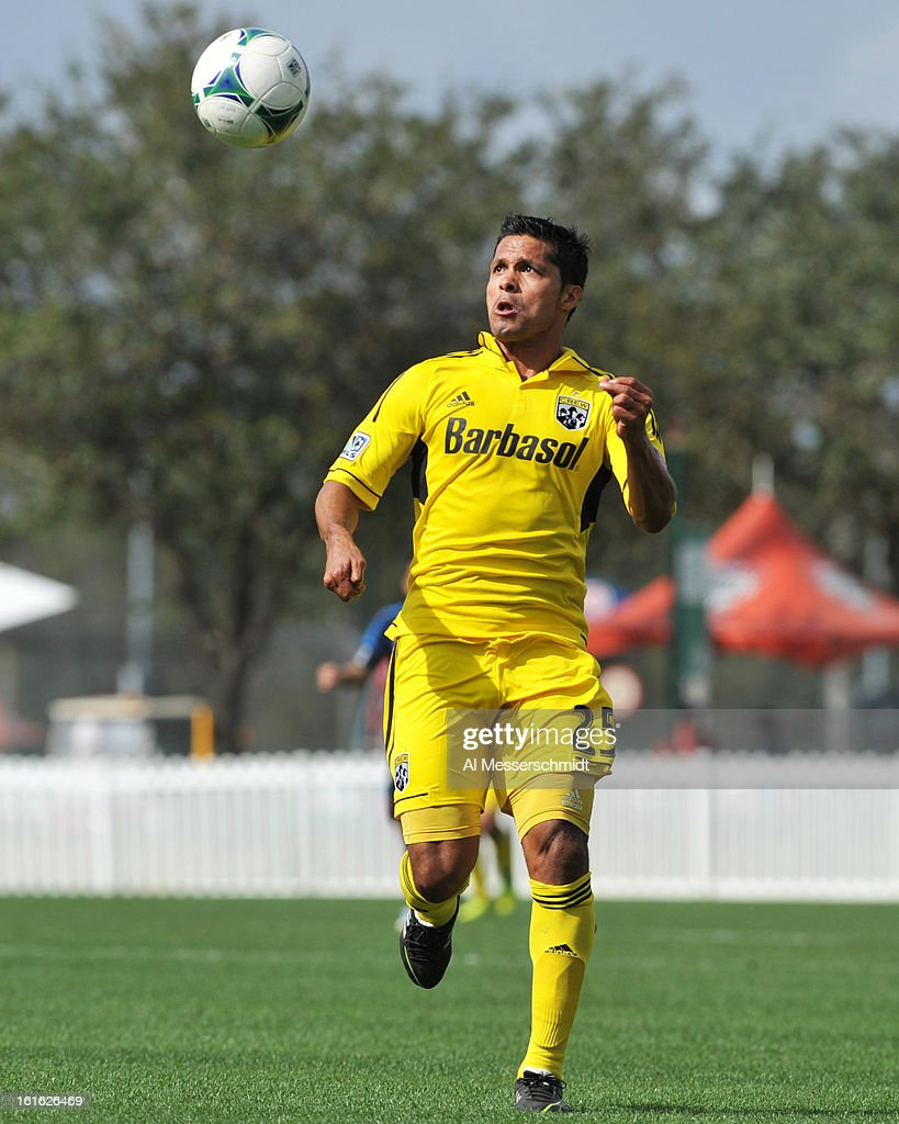 Forward Jairo Arrieta #25 of the Columbus Crew looks for a pass against the Philadelpia Union February 13, 2013 in the second round of the Disney Pro Soccer Classic in Orlando, Florida.