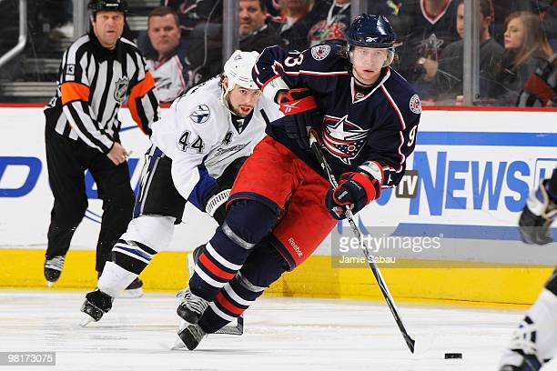 Forward Jakub Voracek of the Columbus Blue Jackets skates with the puck against the Tampa Bay Lightening on March 30 2010 at Nationwide Arena in...