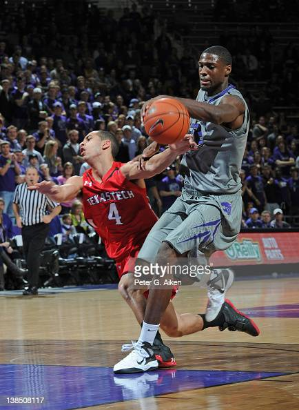 Forward Jamar Samuels of the Kansas State Wildcats steals the ball from guard Ty Nurse of the Texas Tech Red Raiders during the first half on...