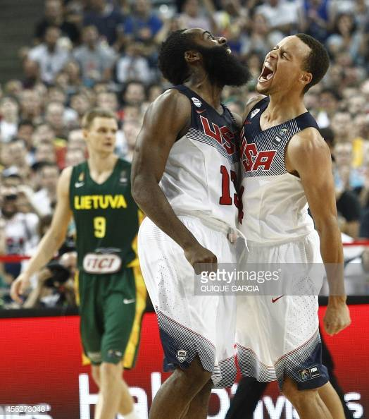 US forward James Harden and US guard Stephen Curry celebrate after scoring during the 2014 FIBA World basketball championships semifinal match...