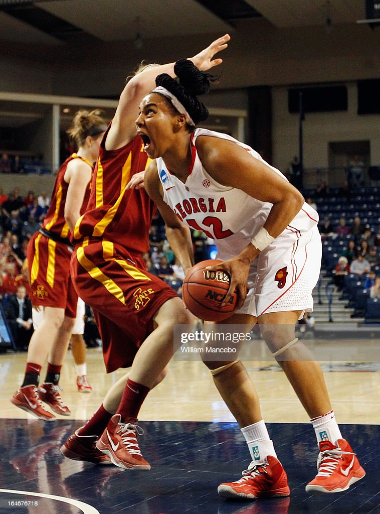 Forward Jasmine Hassell #12 of the Georgia Lady Bulldogs plays against the Iowa State Cyclones late in the game during the second round of the 2013 NCAA Women's Basketball Tournament at McCarthey Athletic Center on March 25, 2013 in Spokane, Washington. The Lady Bulldogs defeated the Cyclones 65-60.