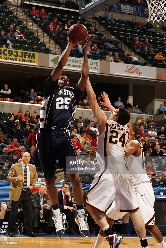 Forward Jeff Brooks #25 of the Penn State Nittany Lion attempts a shot against guard Blake N. Hoffarber #24 of the Minnesota Golden Gophers during the first round of the Big Ten Men's Basketball Tournament at Conseco Fieldhouse on March 11, 2010 in Indianapolis, Indiana.