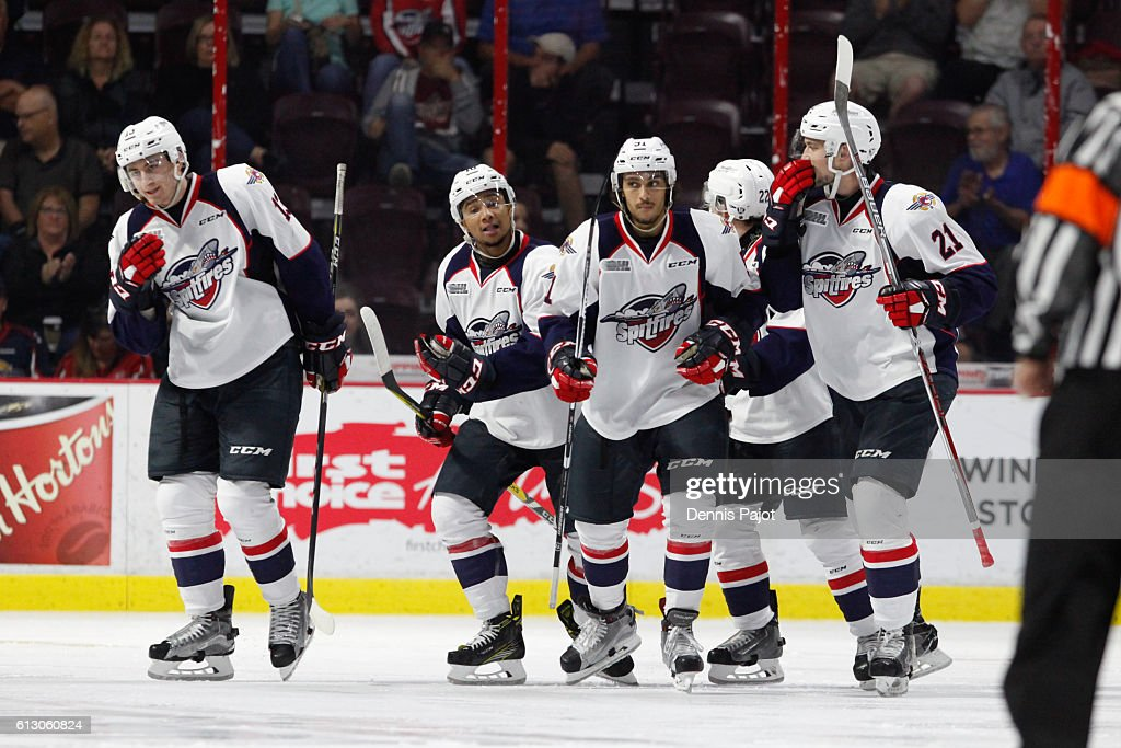 Forward Jeremiah Addison #10 of the Windsor Spitfires celebrates after his third-period, game-winning goal against the Mississauga Steelheads to give the Spitfires a 3-2 lead on October 6, 2016 at the WFCU Centre in Windsor, Ontario, Canada.