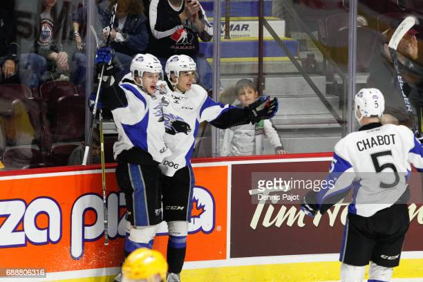 Forward Joe Veleno of the Saint John Sea Dogs celebrates his first period goal against the Erie Otters on May 26 2017 during the semifinal game of...