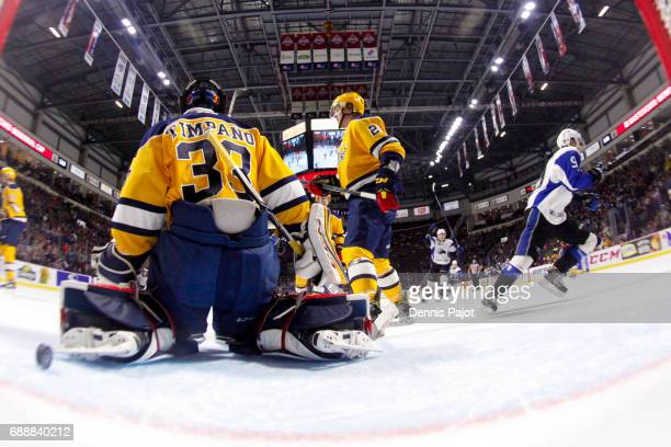Forward Joe Veleno of the Saint John Sea Dogs celebrates his first period goal against goaltender Troy Timpano the Erie Otters on May 26 2017 during...