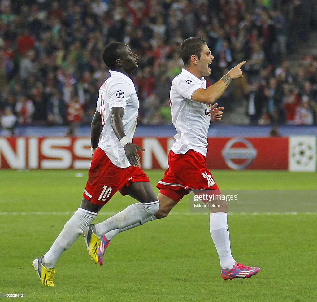 Forward Jonathan Soriano of FC Salzburg celebrates scoring a goal during the UEFA Champions League qualifying play-off at the Red Bull Arena on August 19, 2014 in Salzburg, Austria.