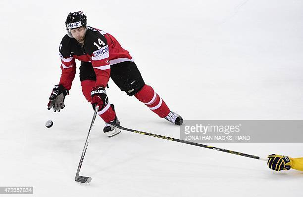 Forward Jordan Eberle of Canada controls the puck during the group B preliminary round match Slovakia vs Norway during the IIHF Ice Hockey World...