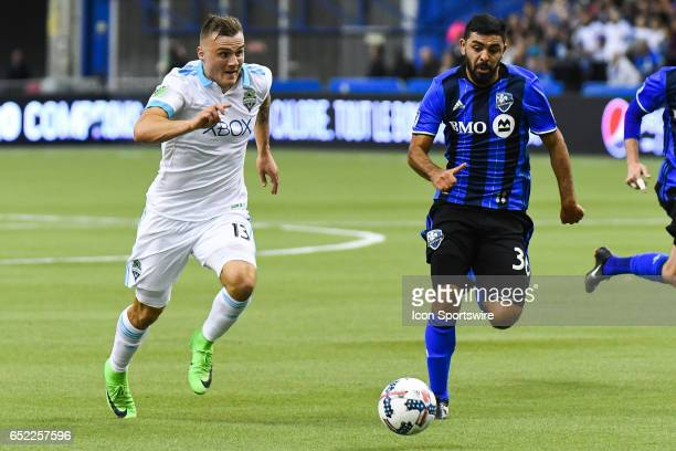 Forward Jordan Morris and Defender Victor Cabrera chasing the ball during the Seattle Sounders FC versus the Montreal Impact game on March 11 at...