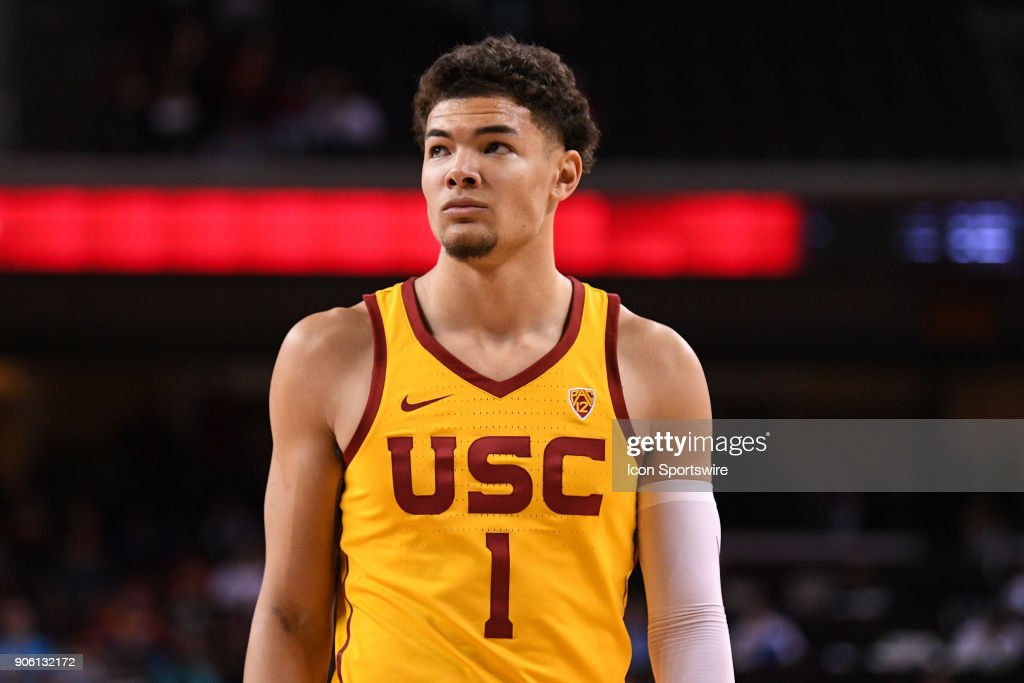 USC forward Jordan Usher (1) looks on during a college basketball game between the Utah Utes and the USC Trojans on January 14, 2018, at the Galen Center in Los Angeles, CA.