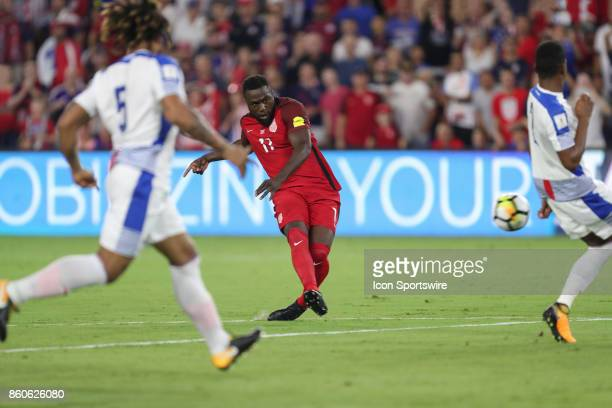 USA forward Jozy Altidore takes a shot on goal during the World Cup Qualifying soccer match between the US Mens National Team and Panama on October 6...