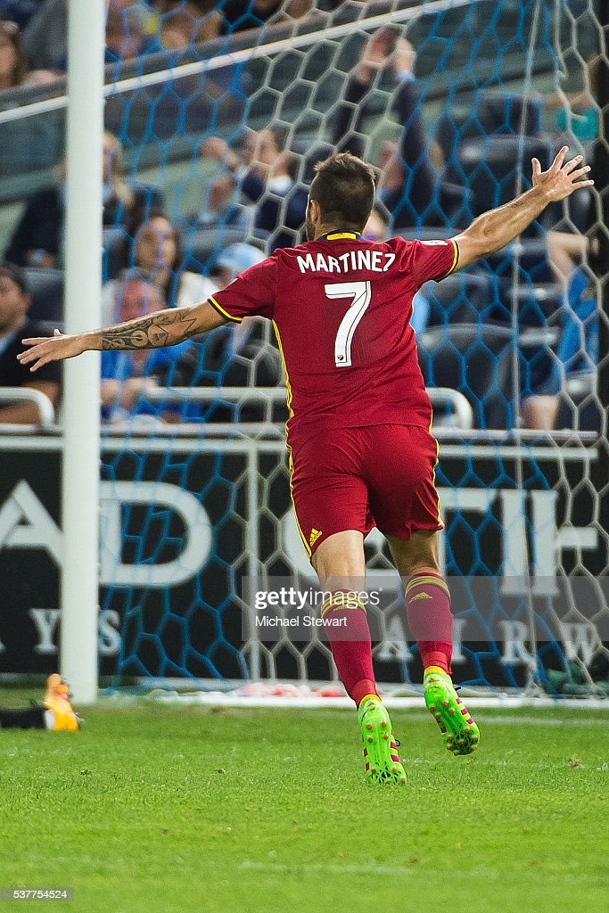 Forward Juan Manuel Martinez #7 of Real Salt Lake celebrates after scoring a goal during the match against New York City FC at Yankee Stadium on June 2, 2016 in the Bronx borough of New York City. Real Salt Lake defeats New York City FC