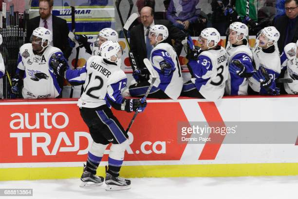 Forward Julien Gauthier of the Saint John Sea Dogs celebrates his second period goal against the Erie Otters on May 26 2017 during the semifinal game...