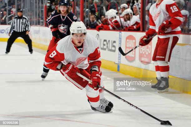 Forward Justin Abdelkader of the Detroit Red Wings controls the puck against the Columbus Blue Jackets on November 11 2009 at Nationwide Arena in...