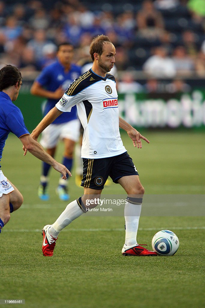 Forward Justin Mapp of the Philadelphia Union in action during a game against Everton FC at PPL Park on July 20 2011 in Chester Pennsylvania The...