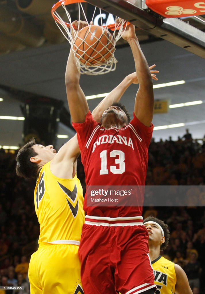 Forward Juwan Morgan #13 of the Indiana Hoosiers dunks during the second half against forward Ryan Kriener #15 of the Iowa Hawkeyes on February 17, 2018 at Carver-Hawkeye Arena, in Iowa City, Iowa.
