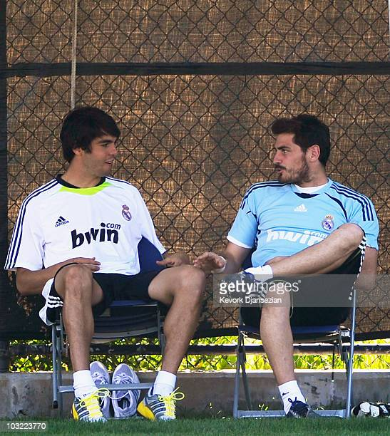 Forward Kaka and goalkeeper Iker Casillas of Real Madrid talk with each other during a training session on the campus of UCLA on August 3 2010 in Los...