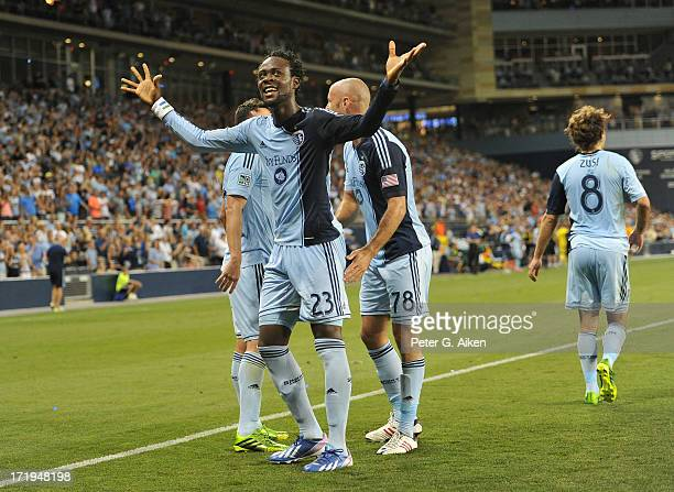 Forward Kei Kamara of Sporting Kansas City reacts after scoring against the Columbus Crew during the second half on June 29 2013 at Sporting Park in...