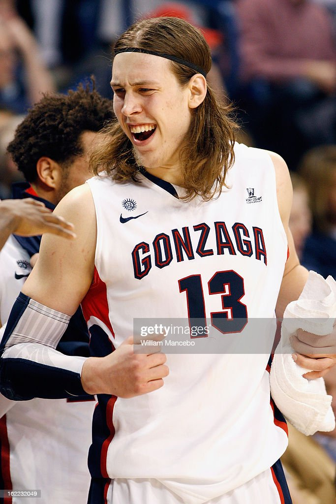 Forward Kelly Olynyk #13 of the Gonzaga Bulldogs reacts on the sideline during the final moments of the game against the Santa Clara Broncos at McCarthey Athletic Center on February 20, 2013 in Spokane, Washington. The Bulldogs defeated the Broncos 85-42.