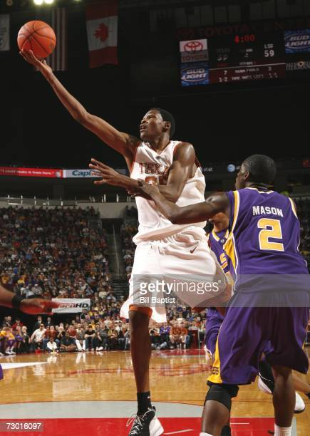 Forward Kevin Durant of the Texas Longhorns shoots over forward Dameon Mason of the LSU Tigers during the game against the LSU Tigers at the Toyota...