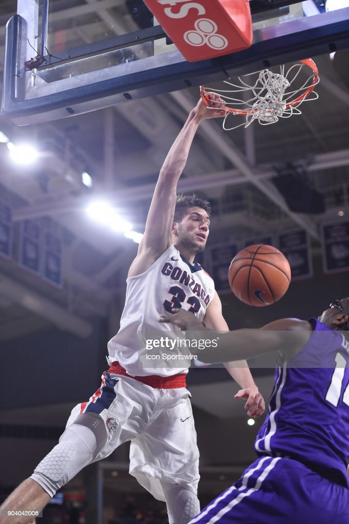 GU forward Killian Tillie (33) finishes off a dunk during the game between the Portland Pilots and the Gonzaga Bulldogs played on January 11, 2018, at McCarthey Athletic Center in Spokane, WA.