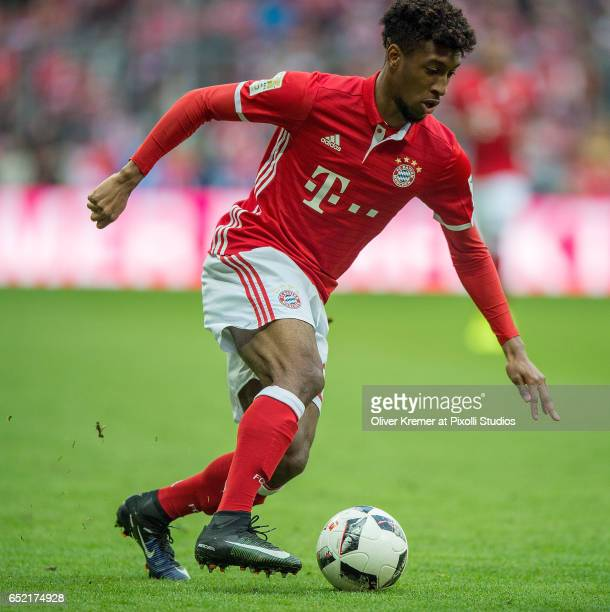 Forward Kingsley Coman of Bayern Muenchen driving the ball forward during the 1 Bundesliga match between FC Bayern Muenchen and Eintracht Frankfurt...