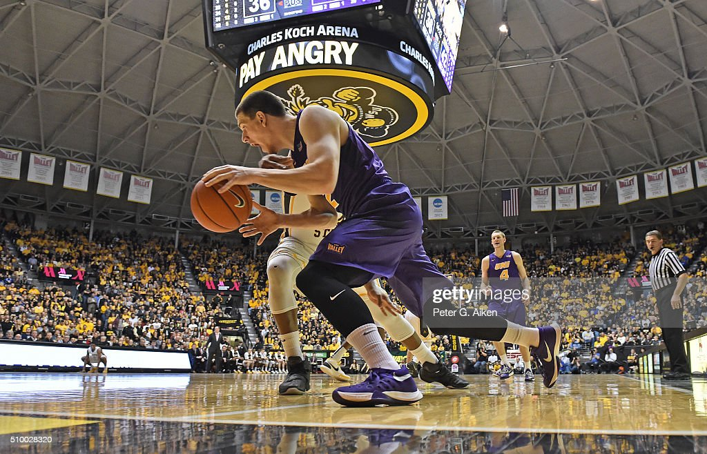 Forward Klint Carlson #2 of the Northern Iowa Panthers drives the baseline against the Wichita State Shockers during the second half on February 13, 2016 at Charles Koch Arena in Wichita, Kansas.