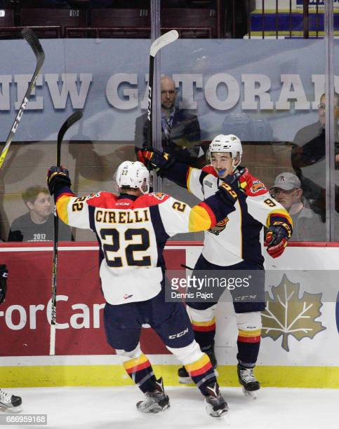 Forward Kyle Maksimovich of the Erie Otters celebrates hist firstperiod goal against the Saint John Sea Dogs on May 22 2017 during Game 4 of the...