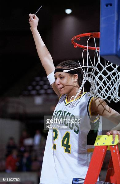 Forward Lauri McIntosh of Cal Poly Pomona celebrates the Bronco's second straight NCAA Division 2 Women's Basketball Championship held at the Mayo...