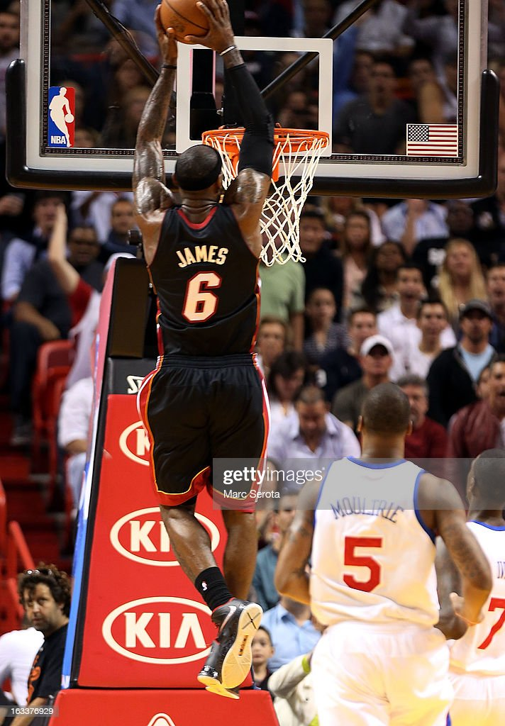 Forward LeBron James #6 of the Miami Heat dunks against the Philadelphia 76ers at American Airlines Arena on March 8, 2013 in Miami, Florida.