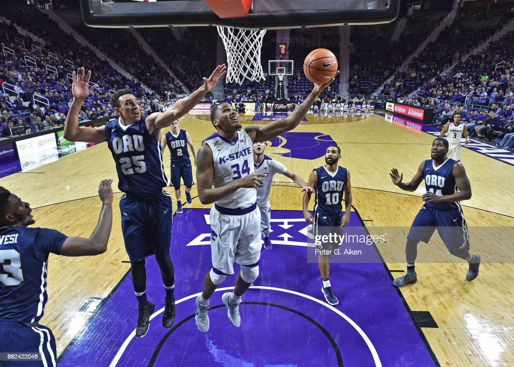 Forward Levi Stockard III #34 of the Kansas State Wildcats scores a basket against forward Javan White #25 of the Oral Roberts Golden Eagles during the first half on November 29, 2017 at Bramlage Coliseum in Manhattan, Kansas.